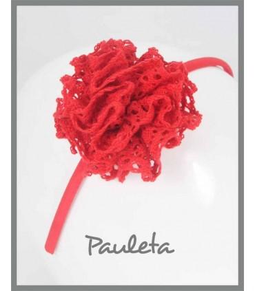 Diadema niña con moña fruncida roja de bolillo P5639-31