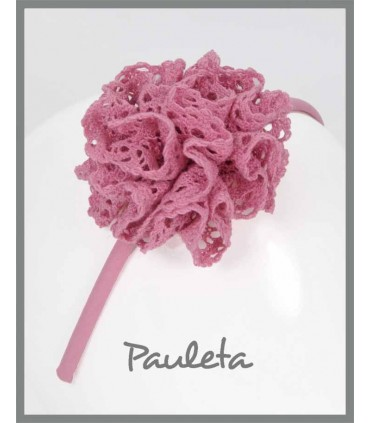 Diadema niña con moña rosa empolvado P5639-61