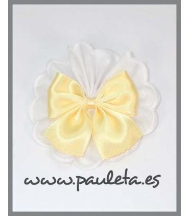 Pinza pelo tira bordada blanca con lazo amarillo pastel P7636BL