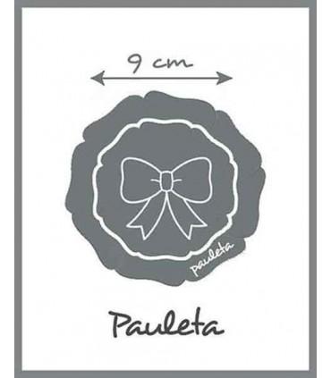 Medidas 9 cm Pinza pelo tira bordada blanca con lazo azul celeste P7636BL