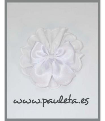 Pinza pelo tira bordada blanca con lazo blanco P7636BL-01