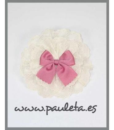 Tocado niña tira bordada beige y rosa empolvado P7593-61