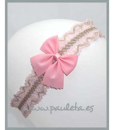 Cinta para el pelo para el bebe rosa y camel P6029