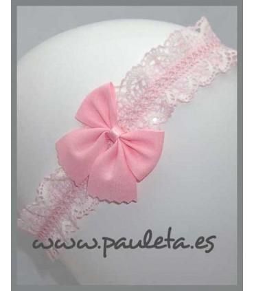 Cinta para el pelo para el bebe rosa y crudo P6029