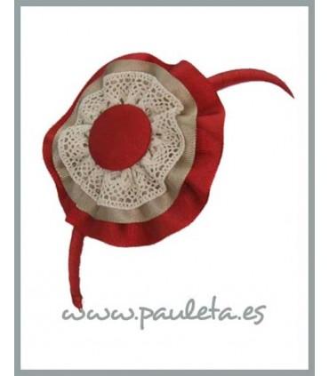 Diadema combinada roja y beige P5215-31-45