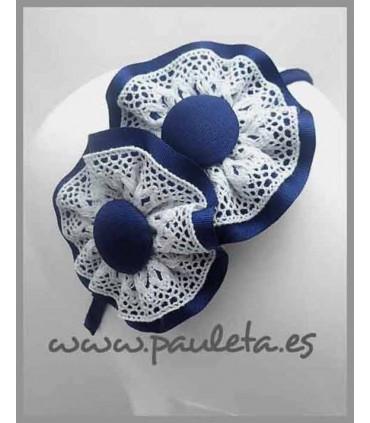 Diademas niña azul marino y bolillo blanco P5399-12-01