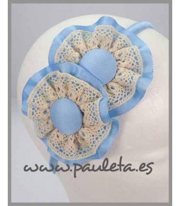 Diademas niña azul celeste y bolillo beige P5399-05-60