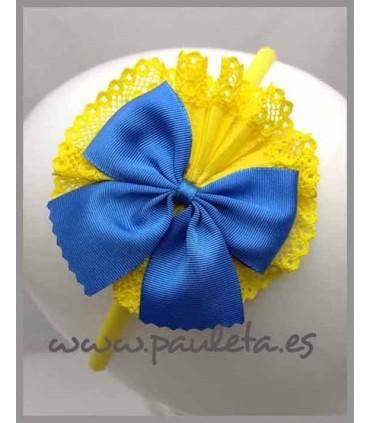 Diademas niña amarilla y lazo azul imperial P5412-35-09