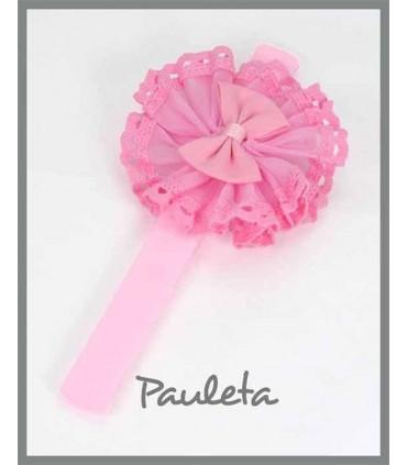 Turbante rosa pétalo de bebé recién nacido P3116-26