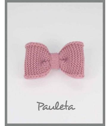 Lazos de lana para el pelo color rosa empolvado P7626-61