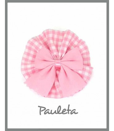 Adorno pelo cuadros de vichy  rosa pastel P7638-23