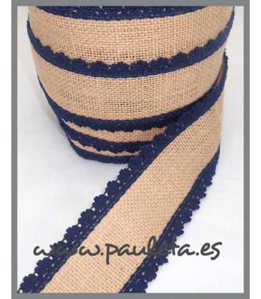 Cinta de yute por metros adorno azul marino R561-12
