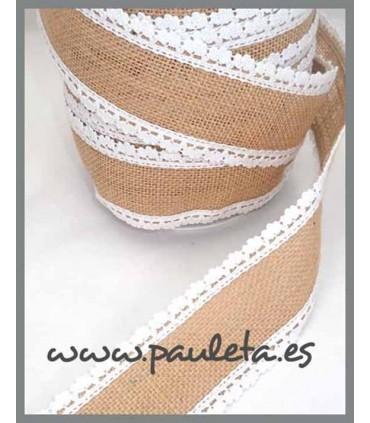 Cinta de yute por metros adorno blanco R561-01