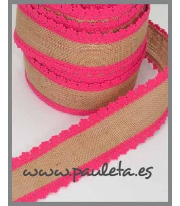 Cinta de yute por metros adorno rosa fresa R561-28
