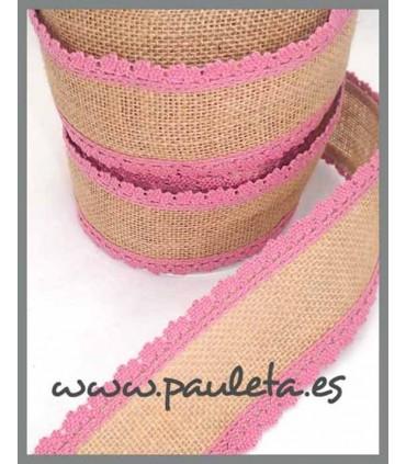 Cinta de yute por metros adorno rosa empolvado R561-61