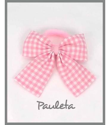 Lazada vichy rosa con goma de pelo P1118-23