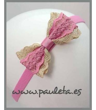 Diademas de bebe rosa palo y camel P3509-21