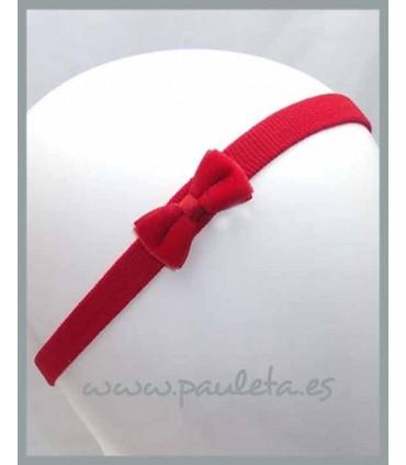 Diademas para bebes con lacito de terciopelo de color rojo P3552-31