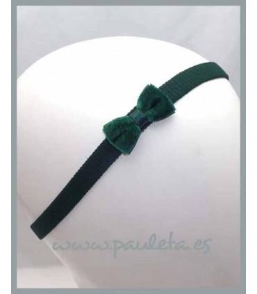 Diademas para bebes con lacito de terciopelo de color verde oscuro P3552-44