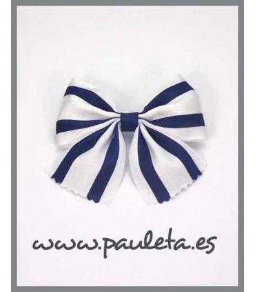 Pinza con lazo a rayas azul marino P7392-12
