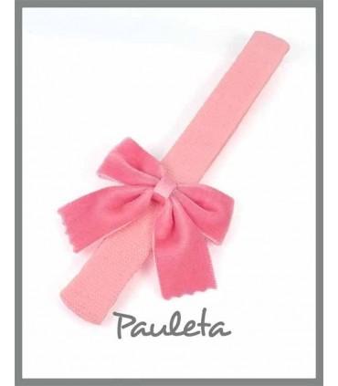 Diadema de bebe color rosa pétalo con lazo clásico de terciopelo P7589-26