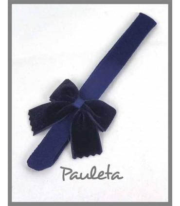 Diadema de bebe color azul marino con lazo clásico de terciopelo P7589-12