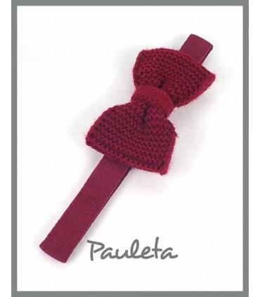 Diademas de bebe con lazo de lana de color burdeos P3626-19