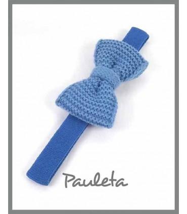 Diademas de bebe con lazo de lana azul imperial P3626-09