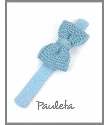 Diademas de bebe con lazo de lana azul empolvado P3626-77