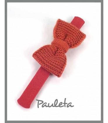 Diademas de bebe con lazo de lana color teja P3626-78