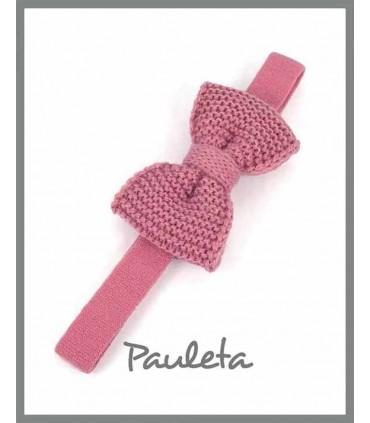 Diademas de bebe con lazo de lana color rosa empolvado P3626-61
