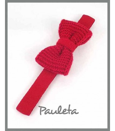 Diademas para bebes con lazo de lana color rojo P3626-31
