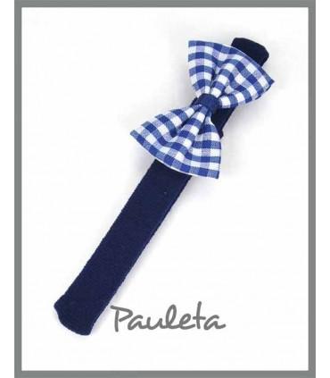 diademas bebe lazo sencillo de cuadros vichy azul marino P3634-12