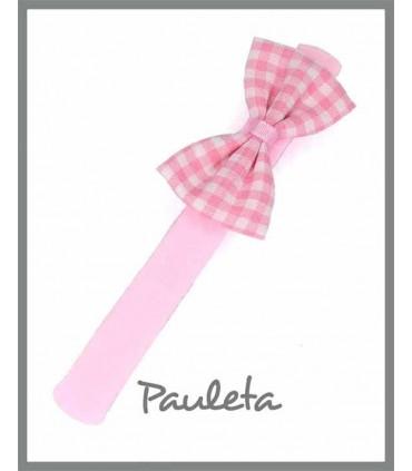 diademas bebe lazo sencillo de cuadros vichy rosa P3634-23