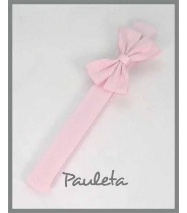 diademas de bebe con lacito doble de color rosa pastel ES3011-23