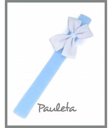 diademas de bebe con lacito doble de color azul celeste pastel ES3011-05