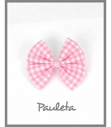 Pinza lazo de tela de cuadros de vichy rosa P7365-23