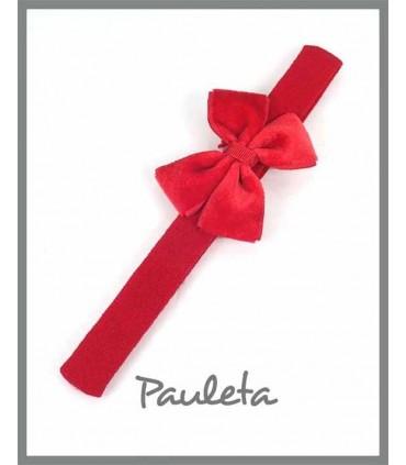 Diademas bebe lazo doble terciopelo color rojo P3625-31
