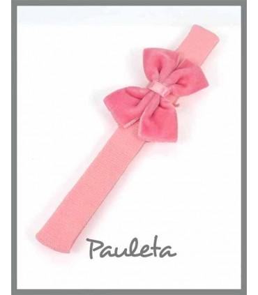 Diademas bebe lazo doble terciopelo color rosa pétalo P3625-26