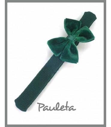 Diademas bebe lazo doble terciopelo color verde botella P3625-44