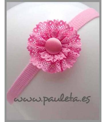 Diadema de bebe rosa pétalo con adorno redondo de puntillas P3394-26