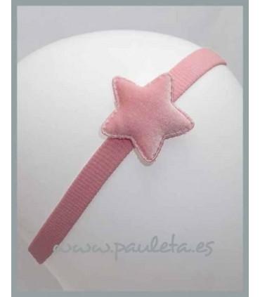 Cinta para el pelo para el pelo con estrella aterciopelada de color rosa pálido P3551-24