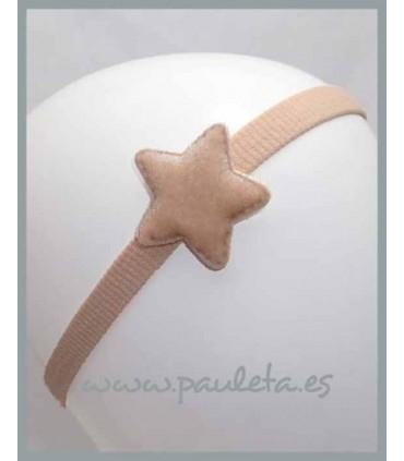 Cinta para el pelo para el pelo con estrella aterciopelada de color beige P3551-60