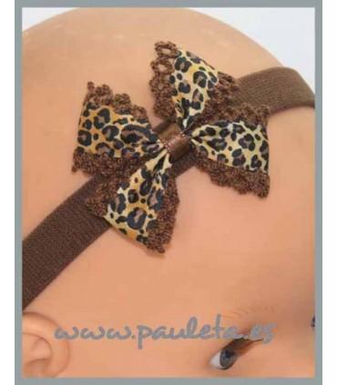 Felpa para bebe con lazo doble animal print con detalles en mostaza P3354-48