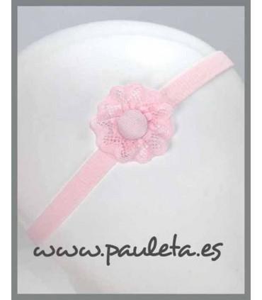 Diademas de bebe con adorno de puntilla de color rosa pastel P3495-22