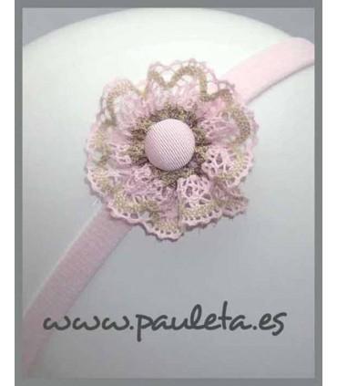Cinta bebe adornada con lazo rosa pastel y camel P3547-22-46