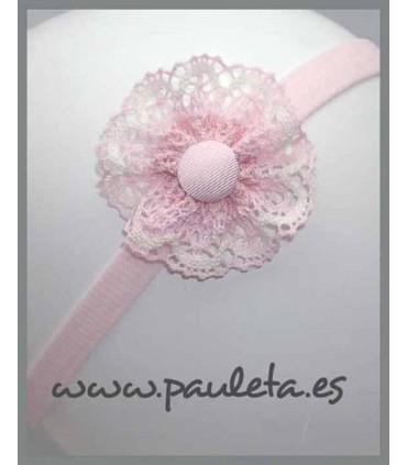 Cinta bebe adornada con lazo rosa pastel y beige clarito P3547-22-02