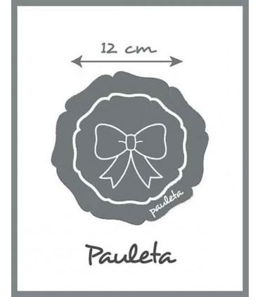 El adorno de la diadema para el pelo de yute de color rosa empolvado mide 12 cm aprox.