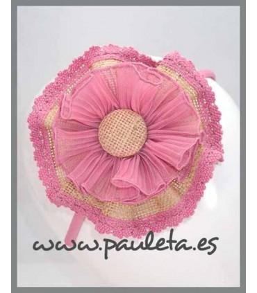 Diademas para el pelo con lazo grande de yute rosa empolvado P5604-61