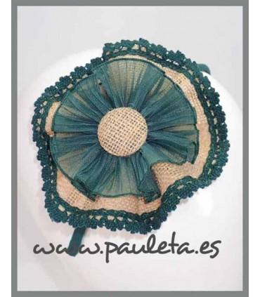 Diademas para el pelo con lazo grande de yute verde colegial P5604-44